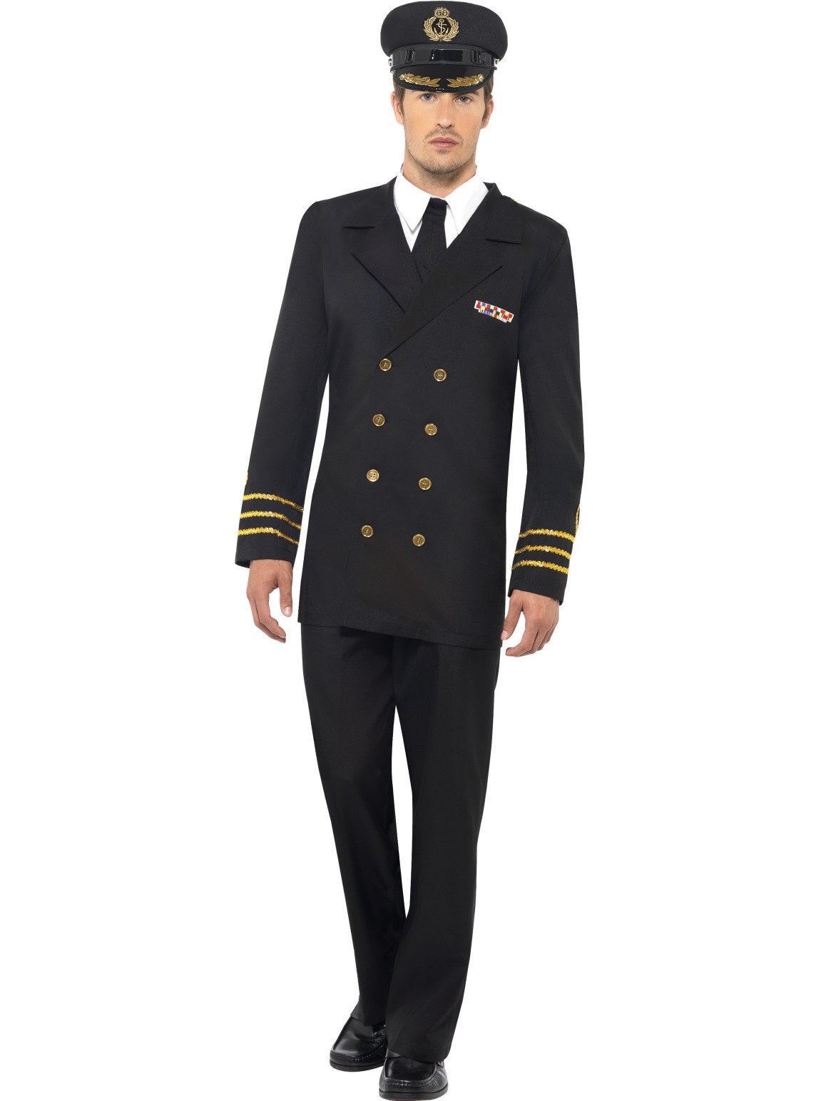 Military Naval Sea Captain Officer Navy Adults Mens Fancy Dress Costume