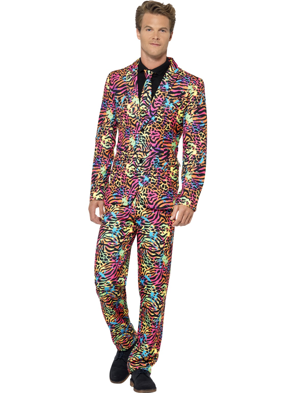Mens Stand Out Neon Suit Tiger Stag Do Halloween Costume Party Funny Fancy Dress