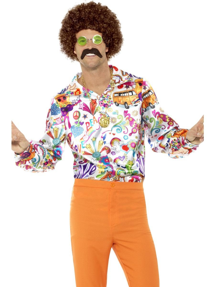 CA188 Mens Groovy Stand Out Suit Adults Hippy Psychedelic 60s 70s Peace Costume